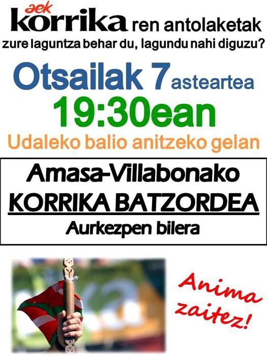 Amasa-Villabonako Korrika batzordea asteartean