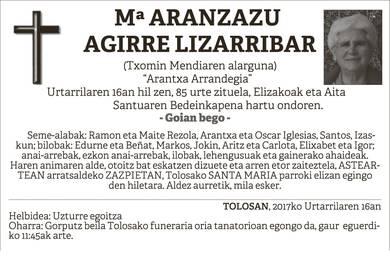Mª Aranzazu Agirre Lizarribar