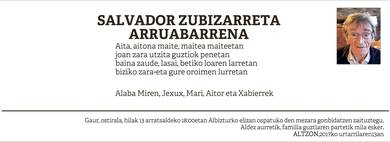 salvador Zubizarreta Arruabarrena