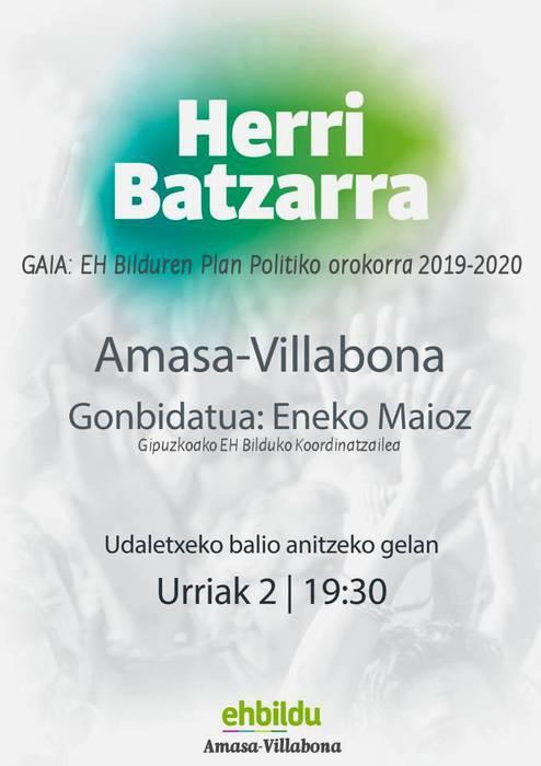 Asteazkenean 19:30etan Herri Batzarra: Ikasturteko plan politikoa.