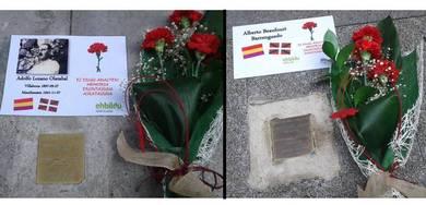 Holokaustoaren biktimen memoriaren egunean, EH Bilduk lore eskeintza egin die Adolfo Lozano eta Alberto Beaufourt billabonatarrei