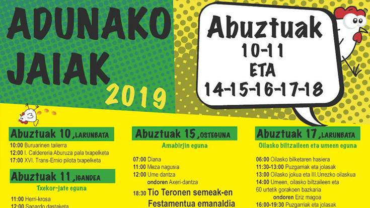 Adunako jaiak 2019