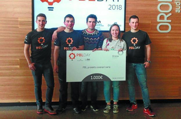 'PBL Orona Fundazioa 2018' saria irabazi dute Tolosaldeko hiru ikaslek