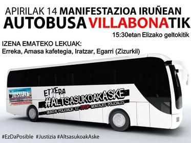Larunbatean Iruñeako manifestaziora joateko autobusa Villabonatik
