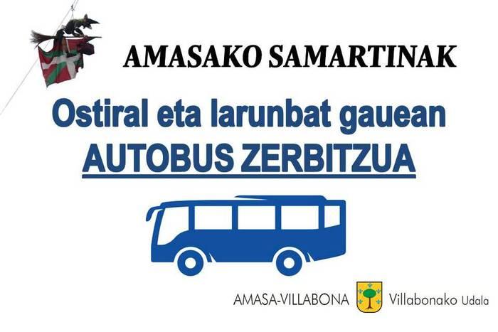 Asteburuan Amasako festetarako gaueko autobus zerbitzu berezia