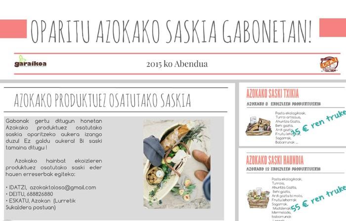 Tolosako Azokako produktuez osatutako saskia, opari