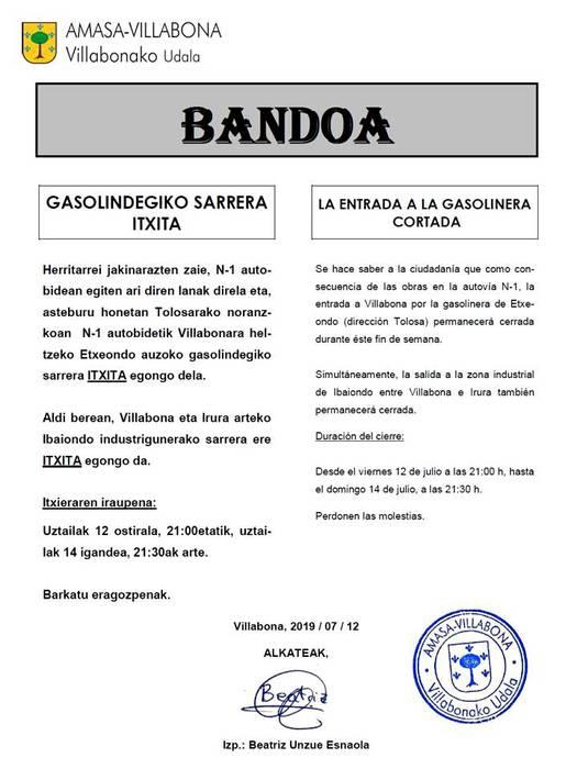 Asteburuan, N-1etik Villabonara sartzeko Etxeondoko gasolindegiko sarrera Itxita