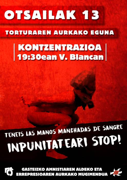 Torturaren Aurkako Egunean, elkarretaratzeak deitu ditu AEMk