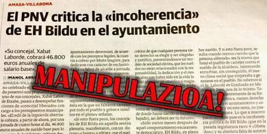 EH Bilduren oharra: Villabonako PNV-k Diario Vasco-n argitaratutako manipulazioz jositako mezuari erantzuna