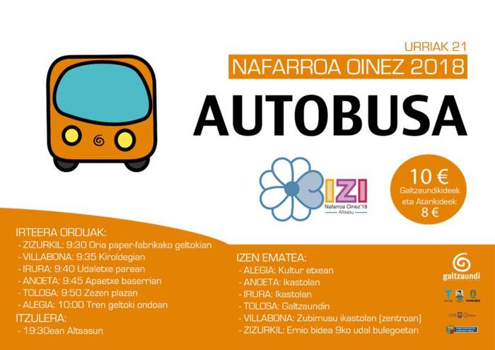Altsasuko Nafarroa Oinezera, autobusez, Tolosaldetik
