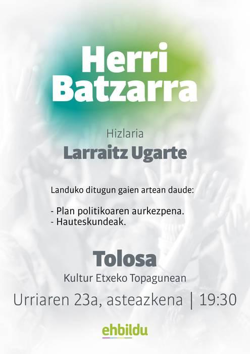 Herri batzarra Larraitz Ugarterekin