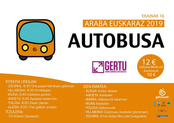 Araba Euskarazera autobusez joateko aukera Galtzaundirekin