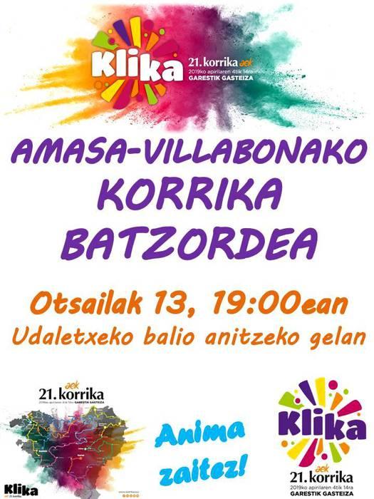 Amasa-Villabonako Korrika batzordearen bilera datorren asteazkenean