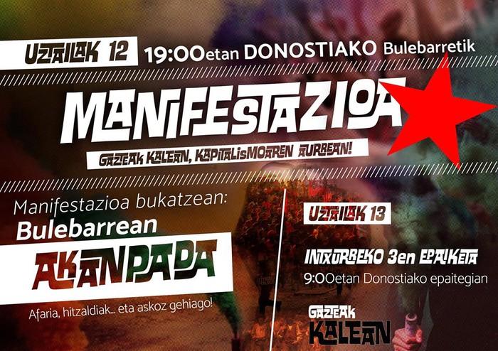 'Kapitalismoaren aurrean, Gazteak Kalean' manifestazioa gaur Donostian